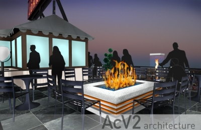 Custom roof top fire pits fireplaces and vortex fires