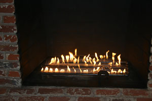 custom fireplace with burner
