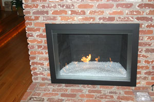custom fireplace surround with starfire fireglass