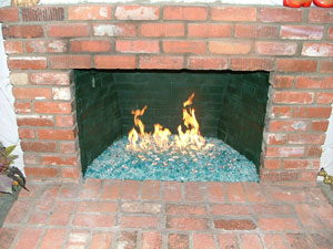 fire glass fireplace idea