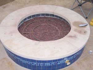 lava rock fire pit with fire pit ring