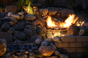 outdoor custom fire and water waterfall fountain 5