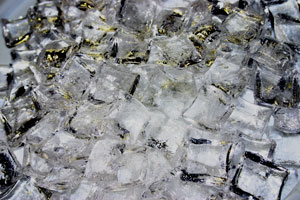 Ice crystal cubes for fire pits or fireplaces