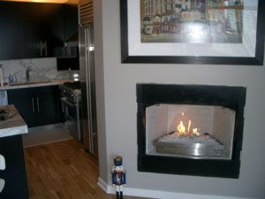 fireglass and ventless fireplace