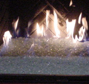 custom fireplace with fire glass stones
