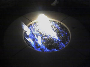 blue fire glass flames fire pit