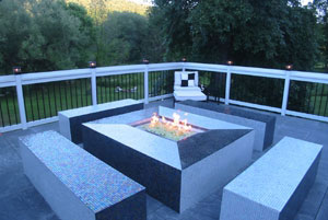 custom patio fire pit for commercial property