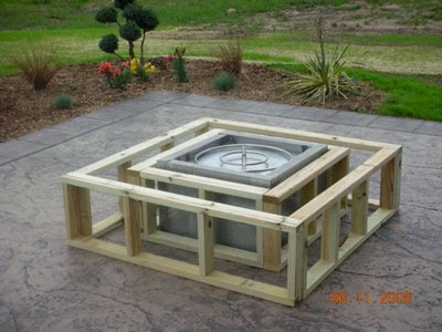 wood frame construction for fire pits