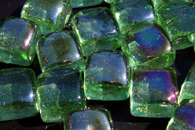 aqua green glass cubes 2