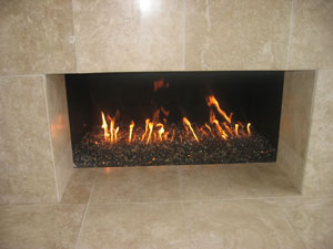 fireplace designs using fire rocks