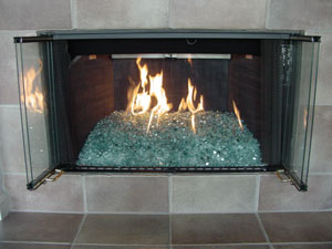 fire on glass custom fireplace