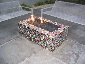 mosiac fire pit with fire crystals