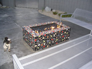 mosiac fire pits with burning glass rocks
