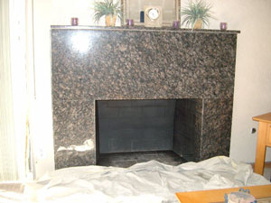 Clean marble  fireplace
