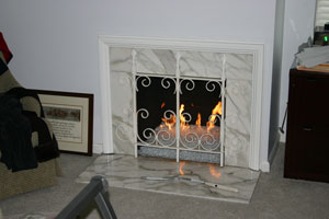 fireplace ideas using glass fire stones