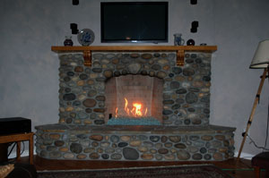 fire crystals in a rock fireplace